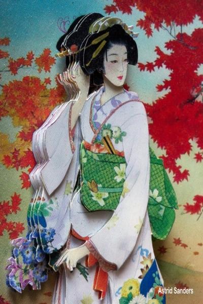 3D-kaart met Japanse dame