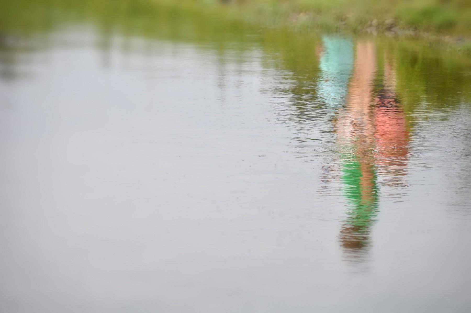 Bianca Dekkers-van Uden, langs de waterkant abstractie, Uiterwaarden Wageningen